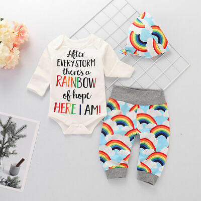 $9.05 • Buy Newborn Baby Girl Boy Rainbow Romper Tops Jumpsuit Pants Hat Outfits Clothes Set