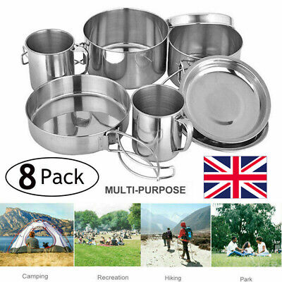 £12.95 • Buy 8 Folding Cooking Picnic Pot Pan Set Outdoor Backpacking Camping Equipment Kit