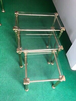 Mid Century Chelsom Designer Nest Of Brass And Bevelled Glass Tables • 175£