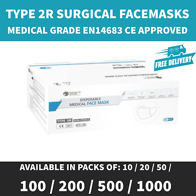 Type IIR 2r Surgical 3-Ply Face Mask Medical Grade EN14683 CE Approved • 12.95£