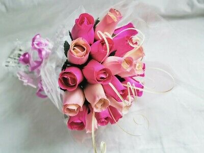 Wooden Roses Bouquet Gift Wrapped With 24 Wooden Roses - Various Colours • 12.99£