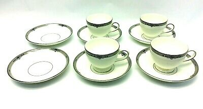 Set Of Vintage Used Wedgwood Amherst Bone China 4 Coffee Tea Cups 6 Saucers • 42.93£