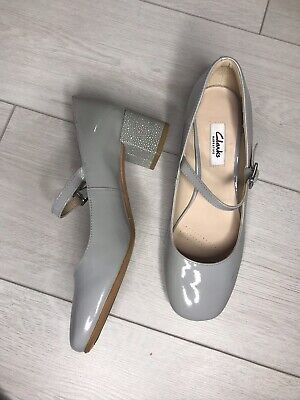 Clarks 5 Baby Blue Block Heel Parent Shoes Strap Wedding Party Smart Occasion • 15£