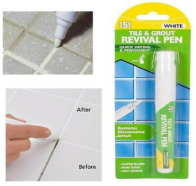 Grout Revival Cleaner Pen Floor Wall Bathroom Kitchen ANTI-MOULD WHITE NO STAINS • 2.79£