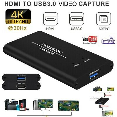 HDMI Video Capture Card 1080P HD Recorder USB 3.0 4K For Game Live Streaming UK • 44.99£