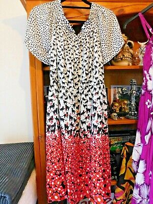 AU12.95 • Buy Quality Made  BLACK CATS  ADULT DRESS Lady/Teen Black White Red New(size12)SA