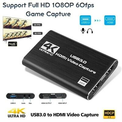 4K HDMI HD 1080P 60fps USB 3.0 Video Capture Card Mic Game Record Live Streaming • 37.98£