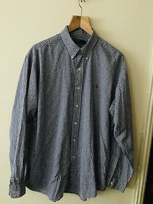 Mens Genuine Ralph Lauren Blue Gingham Custom Fit Long Sleeve Shirt XL • 15.80£