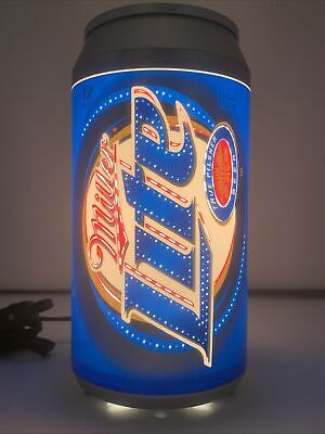 """$100.05 • Buy Vintage MILLER LITE Motion Light PROMO BEER CAN 10"""" Tall Working Man Cave"""