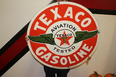 $ CDN201.16 • Buy Large Texaco Aviation Gasoline Airplane Gas Oil 2 Sided 30  Porcelain Metal Sign