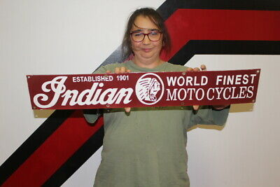 $ CDN34.36 • Buy Indian Motorcycles Worlds Finest Gas Oil 30  Porcelain Metal Sign