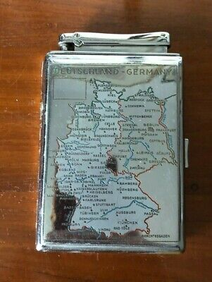 Vintage Chrome Cigarette Case & Helo Monopol Lighter With Maps Of Germany & USA • 2.20£