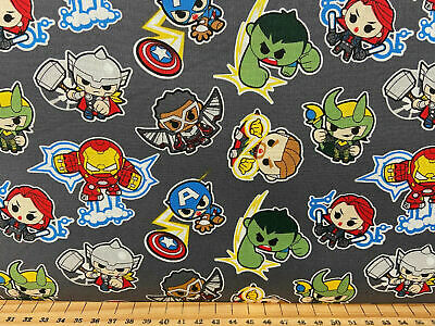 Marvel Avengers 'Mini Action Figures' Cute Cotton Fabric By 1/4 Metre* Hulk/Thor • 3.20£