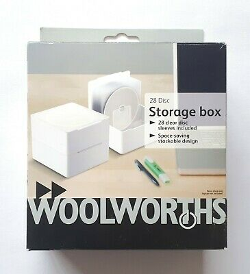 Woolworths Plastic CD Storage Box With Flip-Lid + 28 Clear Sleeves - BRAND NEW • 5.99£