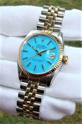 $ CDN4611.27 • Buy VINTAGE ROLEX MEN's 36mm DATEJUST 1601 AUTOMATIC WATCH BLUE  STELLA  DIAL '66