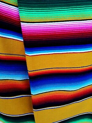 Authentic LG Mexican Serape Blanket Cotton Mix Picnic Throw Hot Rod YELLOW  • 43£