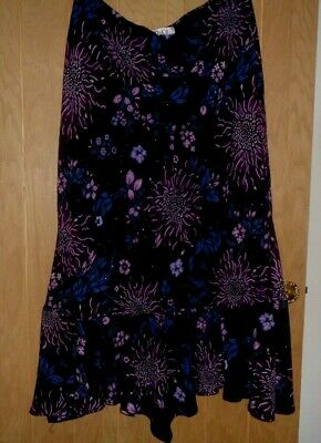 Ladies M&Co Long Black & Purple Floaty Lined Over Net Skirt Size 20 • 4.50£