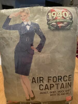 Ladies 1940s Air Force Captain Fancy Dress RAF WW2 Costume Uniform Size Small • 20£