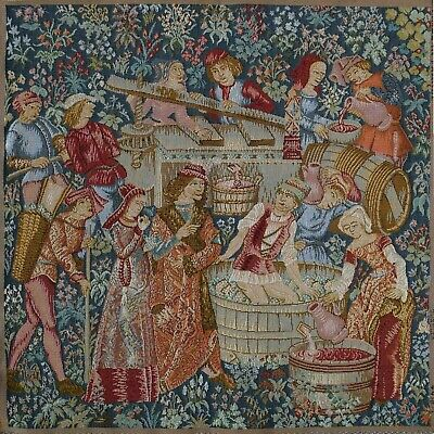 Woven Tapestry Panel - The Vintage [grape Pressing] 49x 49cm Approx • 9.95£