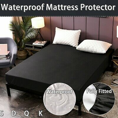 AU29 • Buy Solid Black Single/Double/Queen/King Waterproof Mattress Protector Sheet Cover