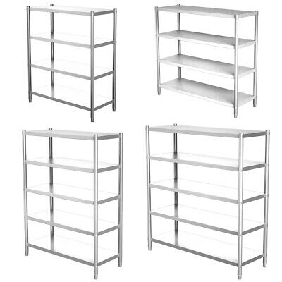Stainless Steel Kitchen Shelf 4-5 Tier Commercial Shelving Unit Storage Rack • 143.94£