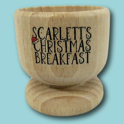 £9 • Buy Christmas Breakfast Wooden Egg Cup   Personalised Egg Cup   Christmas Egg Holder