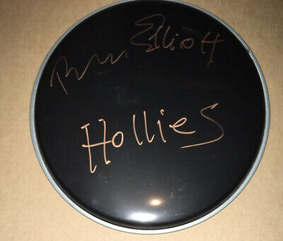 "Signed The Hollies Bobby Elliott 10"" Black Drum Head Rare Authentic Nash Clarke • 99.99£"