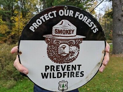 $ CDN79.29 • Buy Vintage 1951 Smokey The Bear Porcelain Sign!  Prevent Wildfires Forest Service