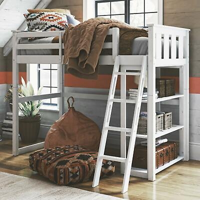 £214.33 • Buy Twin Loft Bed With Bookshelf Durable Solid Pine And Rubberwood White Finish