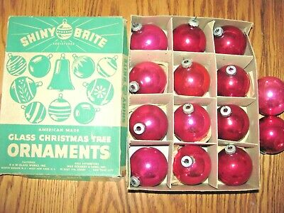 $ CDN13.20 • Buy Vintage Shiny Brite Pink Mercury Glass Christmas Ornaments With Box