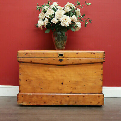 AU950 • Buy Antique Australian Trunk, Coffee Table, Storage Chest Blank Box Chest Of Drawers