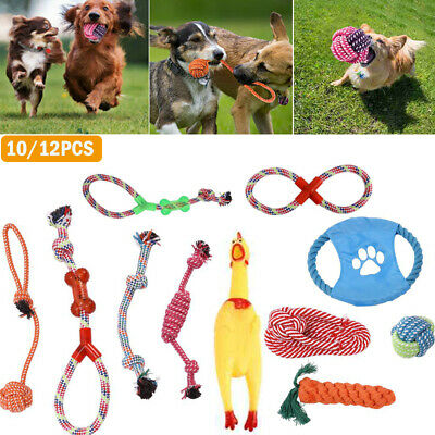 £9.69 • Buy 10/12 Tough Dog Puppy Pet Toy Rope Bundle Teeth Chew Knot Ball Cotton Rope Toys