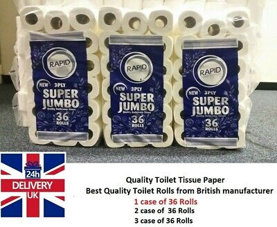 36-144 JUMBO Tissue Paper Rolls 3ply Soft Quilted Flushable Thick Made In UK   • 12.98£