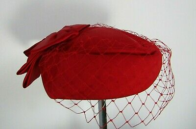 Vintage Pillbox Hat Conner Made In England Bow Beret Red Netted Races Wedding • 15£