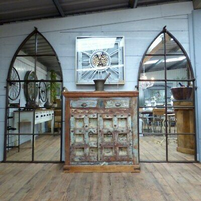 £995 • Buy Large Gothic Arch Shaped Wall Mirror Made From Reclaimed Cast Iron Window Frame