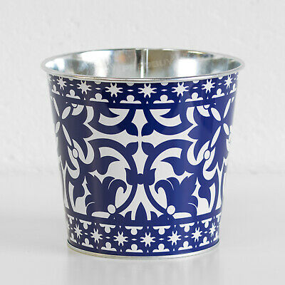 1.8L Round Blue White Plant Pot Cover Planter Indoor Outdoor Garden Herb Trough • 8.99£