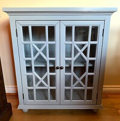 Grey Painted Wooden Bookcase With Glass Doors In Very Good Condition • 100£