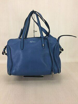 AU509.46 • Buy Alexander McQueen Authentic Leather Tote Bag Blue Used