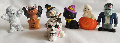 $ CDN29.07 • Buy Vintage Russ Berrie Lot Of 7 Halloween Mini Mummy, Ghost, Cat, Bat, Frank, Skull