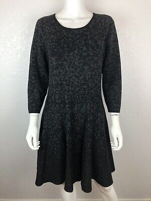 $ CDN31.70 • Buy Ivanka Trump Large Black Gray 3/4 Sleeve Stretchy Fit & Flare Sweater Dress