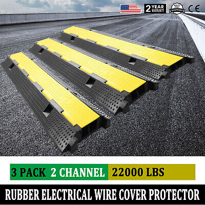£48.50 • Buy 3pcs 2 Channel Rubber Cable Cord Protector Electrical Wire Cover Ramp Heavy Duty