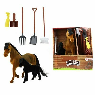 Horses Play Set Horse And Pony With Accessories Toi-Toys 37044A Toys From 3 J • 10.27£