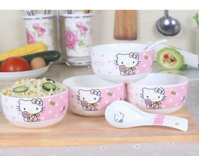 £25 • Buy Cute 4  Hello Kitty Ceramic Rice Soup Bowl Home Tableware Set C/w 4 Spoons