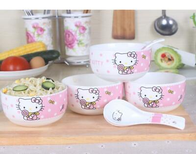 Cute 4  Hello Kitty Ceramic Rice Soup Bowl Home Tableware Set C/w 4 Spoons  • 25£