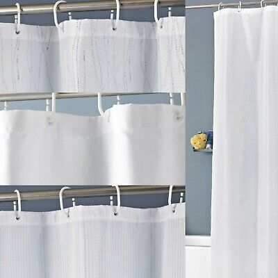 £7.90 • Buy Polyester White Shower Curtain Waterproof Bathroom Curtains With 12 Ring Hooks