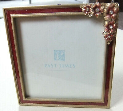 Rare, Vintage Hand Enameled And Stone Set Small Sqaure Photo Frame By Past Times • 7£