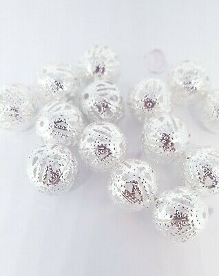 100 X Silver Filigree Beads 6mm/8mm/10mm/12mm/14mm For Jewellery Making   • 2.69£