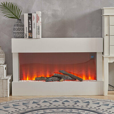 Electric Fireplace Heater LED Fire Flame White Surround Free Standing Hanging UK • 359.94£