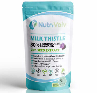£5.49 • Buy Milk Thistle 2000mg Extract - 80% Silymarin - Detox, Liver Support - 90 Capsules