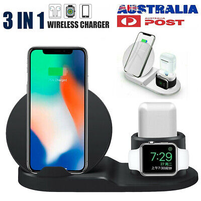 AU26.99 • Buy Wireless Charger Dock 3in1 Fast Charging Stand For Apple Watch IPhone 11 12 S20